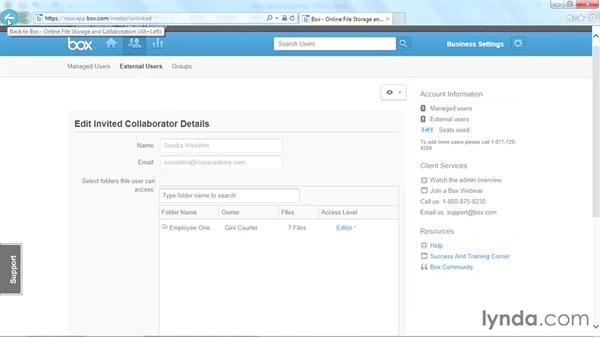 Using the administrative console: Up and Running with Box