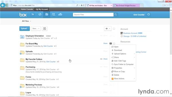 Embedding files and widgets in webpages: Up and Running with Box