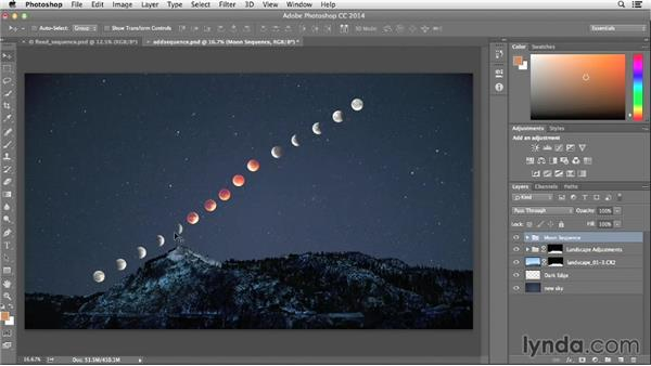 Adding the sequence layers to the landscape: Photographing and Assembling a Lunar Eclipse Composite