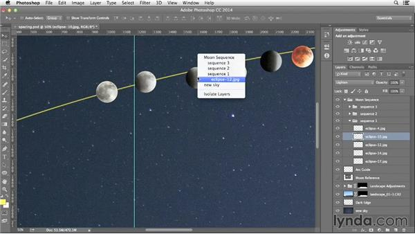 Making final adjustments to the moon sequence: Photographing and Assembling a Lunar Eclipse Composite