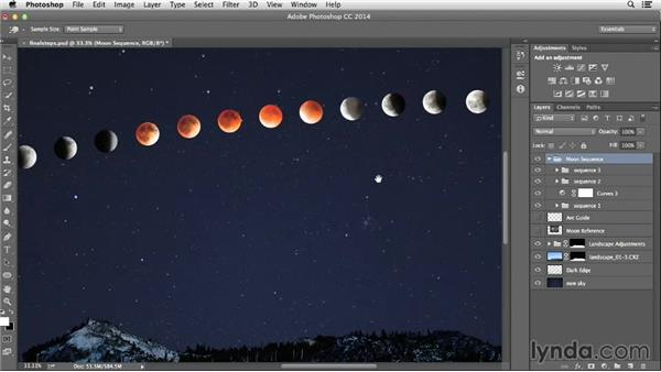 Making final tonal adjustments to the moon: Photographing and Assembling a Lunar Eclipse Composite