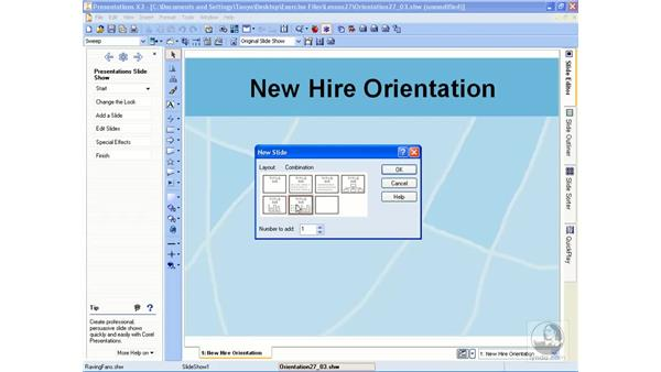 Adding new slides: WordPerfect Office X3 Essential Training