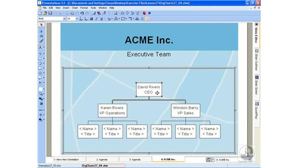 Adding org charts: WordPerfect Office X3 Essential Training