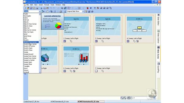 Adding transitions: WordPerfect Office X3 Essential Training