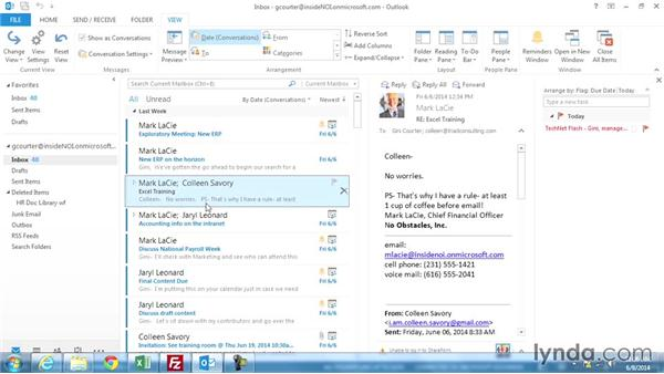 Using Conversation view: Outlook 2013 Power Shortcuts