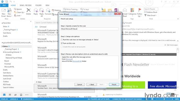 Automating rules for incoming messages: Outlook 2013 Power Shortcuts