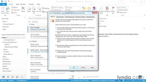 Dealing with junk mail: Outlook 2013 Power Shortcuts