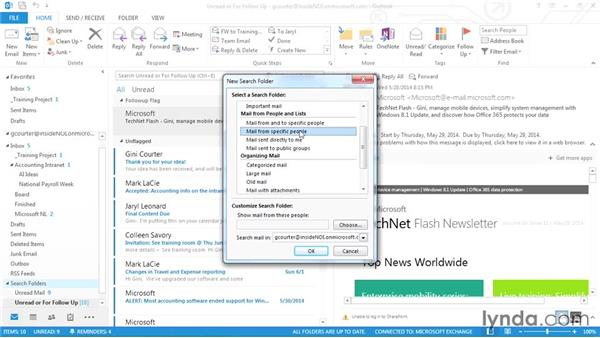 Using search folders: Outlook 2013 Power Shortcuts