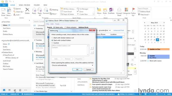 Setting your default address book: Outlook 2013 Power Shortcuts