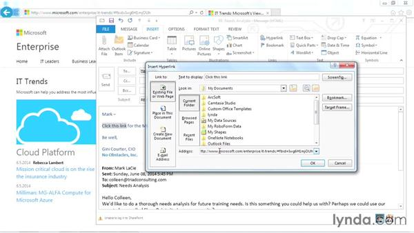 Adding hyperlinks to an email: Outlook 2013 Power Shortcuts