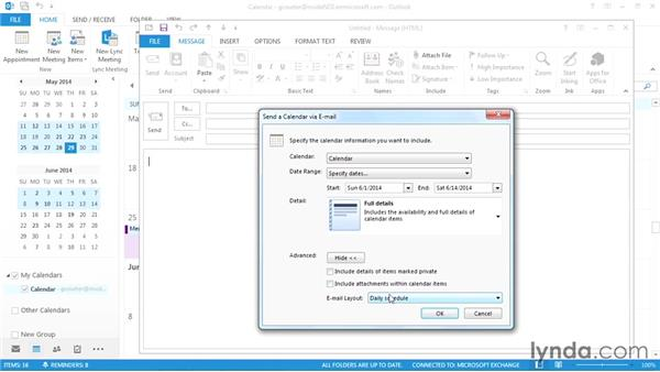 Sharing your calendar via email: Outlook 2013 Power Shortcuts