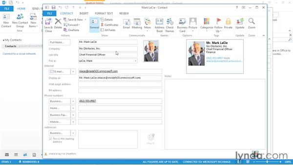 Sending business cards and contacts via email: Outlook 2013 Power Shortcuts