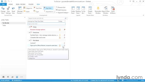 Setting task reminders: Outlook 2013 Power Shortcuts