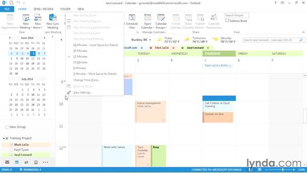 Changing the time scale: Outlook 2013 Power Shortcuts