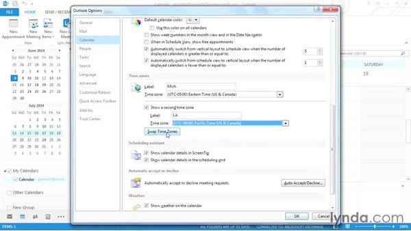 Showing two time zones: Outlook 2013 Power Shortcuts