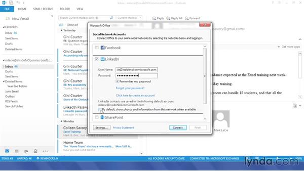 Connecting to your social media accounts: Outlook 2013 Power Shortcuts