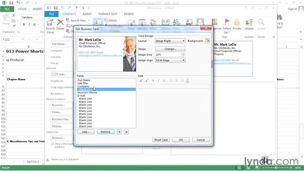 Customizing a business card's appearance: Outlook 2013 Power Shortcuts
