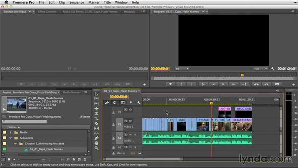 Checking for gaps and flash frames: Premiere Pro Guru: Video Finishing Techniques