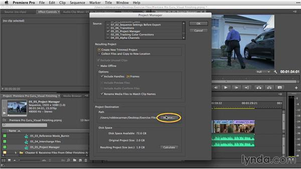 Using the Project Manager to gather assets: Premiere Pro Guru: Video Finishing Techniques
