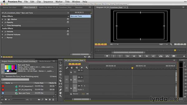 Checking the clock and building a countdown slate: Premiere Pro Guru: Video Finishing Techniques