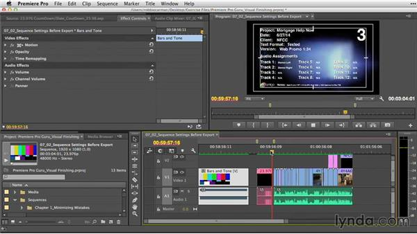 Checking sequence settings before export: Premiere Pro Guru: Video Finishing Techniques