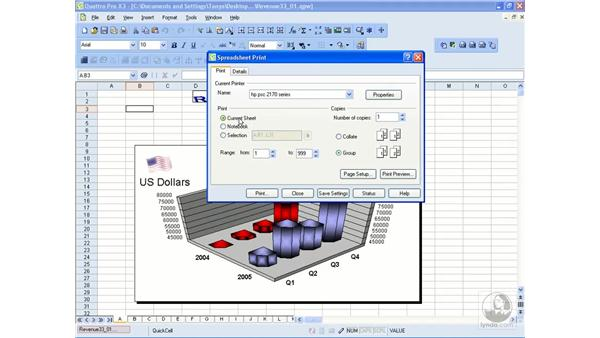 Printing spreadsheets: WordPerfect Office X3 Essential Training