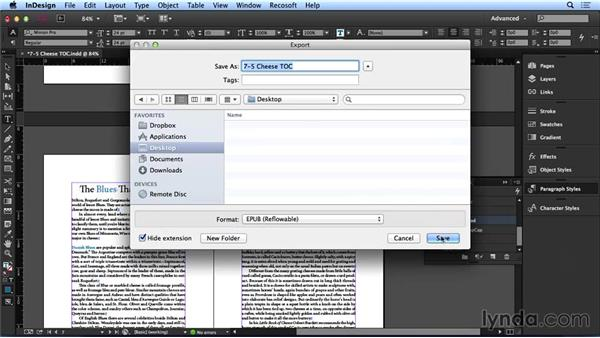 Creating navigational tables of contents: InDesign CC: Interactive Document Fundamentals (2014)