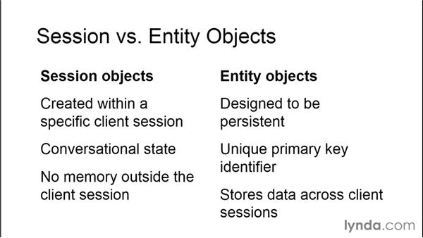 Session vs. entity objects: Java EE Essentials: Enterprise JavaBeans
