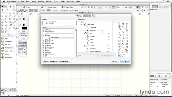 Workspace settings: Up and Running with Vectorworks