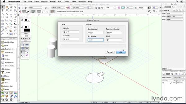 Creating and working with 3D objects: Up and Running with Vectorworks