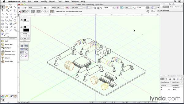 Views and rendering styles: Up and Running with Vectorworks