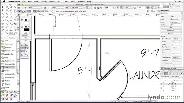 Inserting doors and windows: Up and Running with Vectorworks