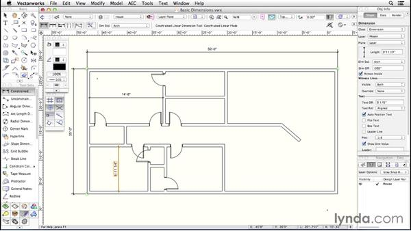 Basic dimensions: Up and Running with Vectorworks