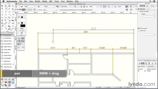Dimension modes: Up and Running with Vectorworks