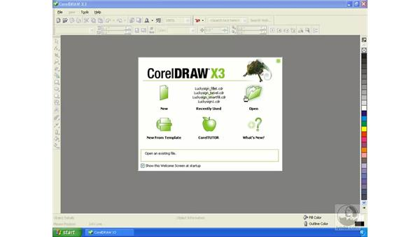 Using the welcome screen: Getting Started with CorelDRAW Graphics Suite X3