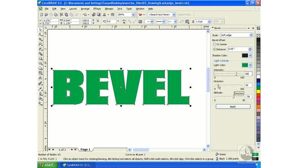Applying bevels: Getting Started with CorelDRAW Graphics Suite X3
