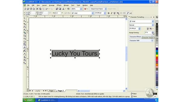 Working with artistic text: Getting Started with CorelDRAW Graphics Suite X3