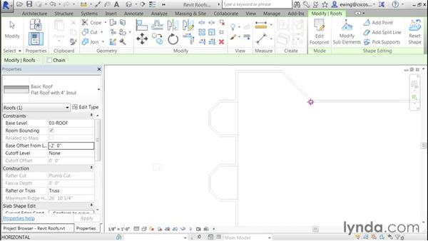 Pitching insulation to roof drains: Building Roofs with Revit