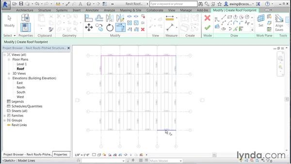 Adding sloped framing: Building Roofs with Revit