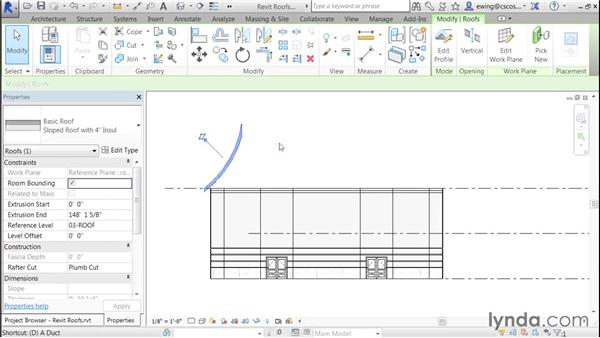 Creating a gambrel roof: Building Roofs with Revit