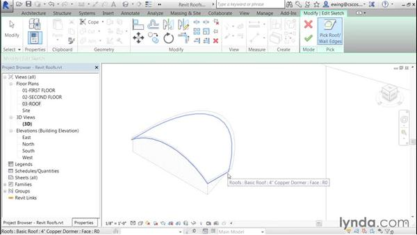 Adding dormer openings: Building Roofs with Revit