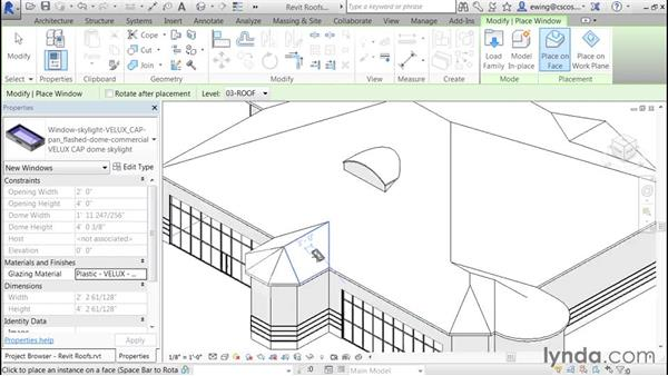 Adding skylights and curbing: Building Roofs with Revit