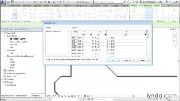 Attaching columns to roofs: Building Roofs with Revit