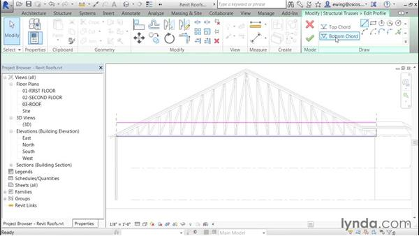Modifying bottom-truss chords: Building Roofs with Revit
