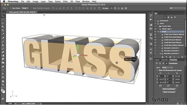 Manipulating the 3D object: Creating 3D Type in Photoshop