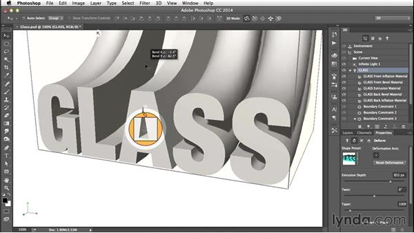 Extruding, twisting, tapering, and bending: Creating 3D Type in Photoshop