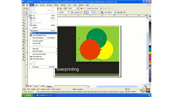 Using the Overprint feature: Getting Started with CorelDRAW Graphics Suite X3
