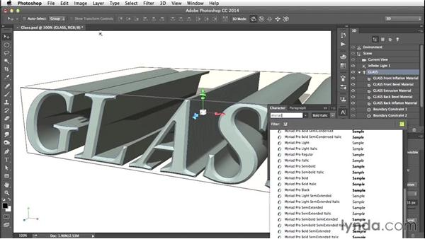 Editing type: Creating 3D Type in Photoshop