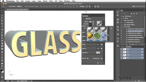 Changing the material properties: Creating 3D Type in Photoshop