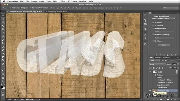 Creating a 3D postcard: Creating 3D Type in Photoshop